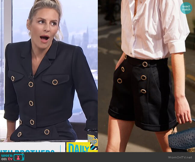 Shorts by The Kooples worn by Morgan Stewart  on E! News