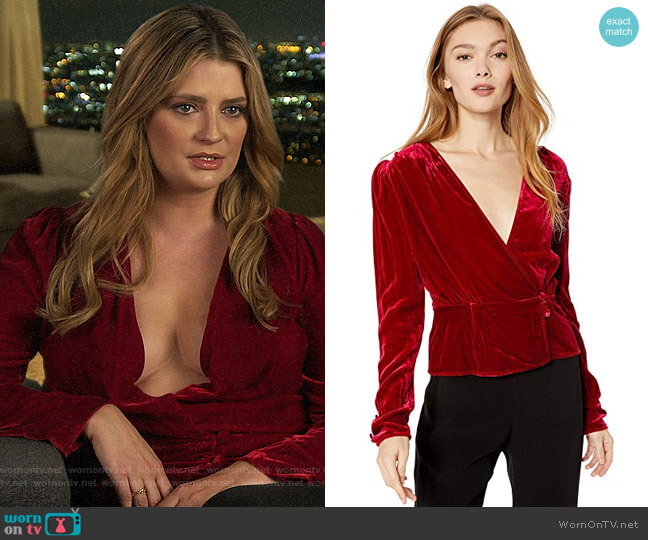 The Kooples Crossover Ruched Velvet Top worn by Mischa Barton  on The Hills New Beginnings