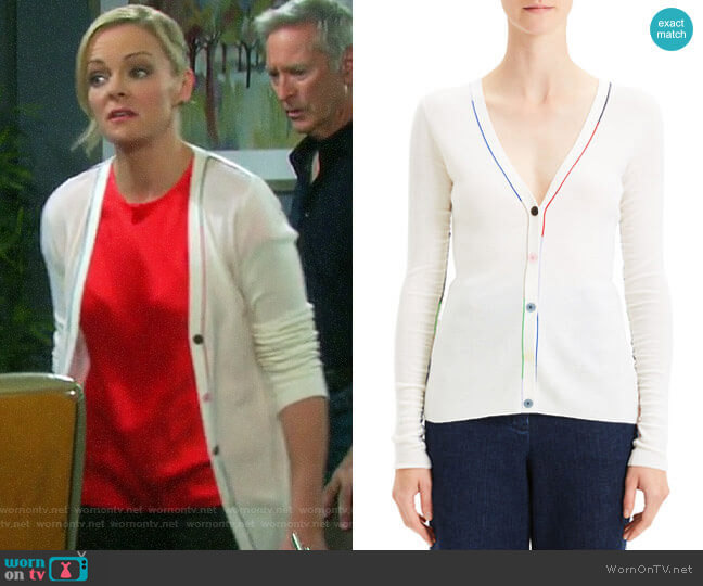 Theory Embroidered V-Neck Wool Cardigan worn by Belle Brady (Martha Madison) on Days of our Lives
