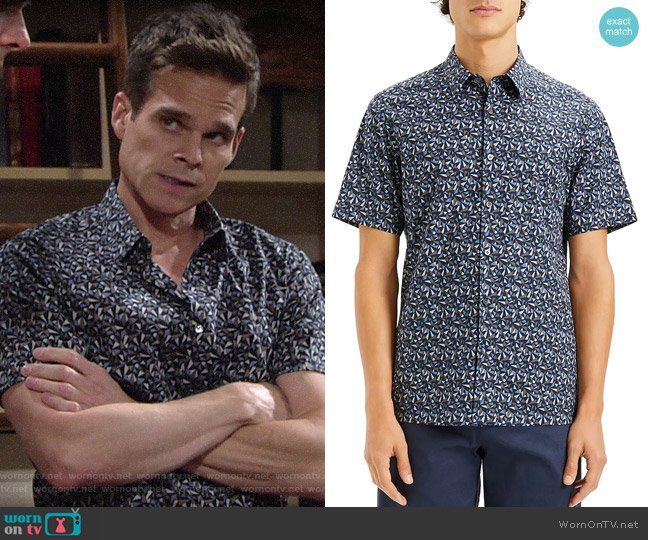 Theory Irving Geometric-Print worn by Kevin Fisher (Greg Rikaart) on The Young & the Restless