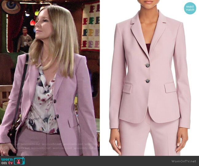 Theory Dusty Lilac Carissa Blazer worn by Christine Blair Williams (Lauralee Bell) on The Young & the Restless