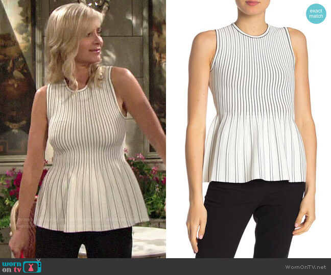 Theory Sleeveless Peplum Blouse worn by Ashley Abbott (Eileen Davidson) on The Young & the Restless