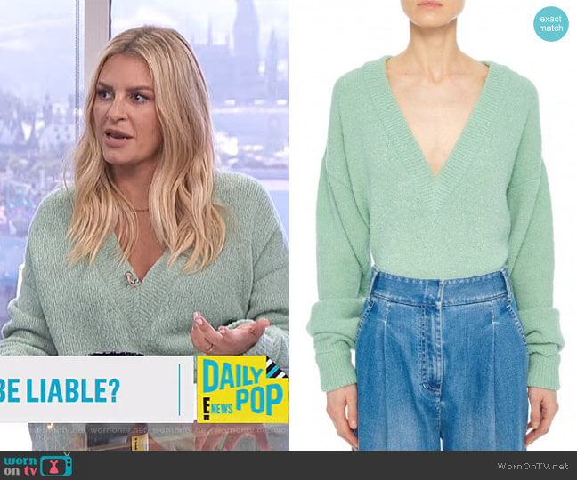 V-Neck Airy Alpaca Blend Sweater by Tibi worn by Morgan Stewart  on E! News