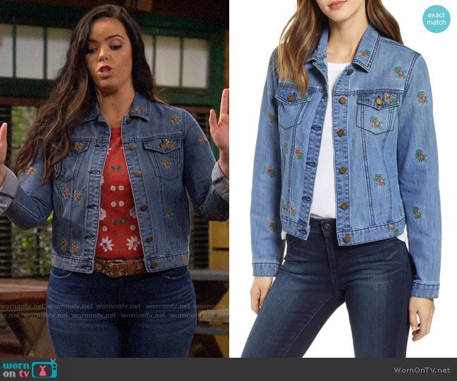 Tinsel Floral Embroidered Denim Jacket worn by Lou Hockhauser (Miranda May) on Bunkd