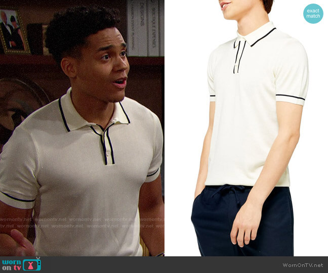 Topman Tipped Polo worn by Xander Avant (Adain Bradley) on The Bold & the Beautiful