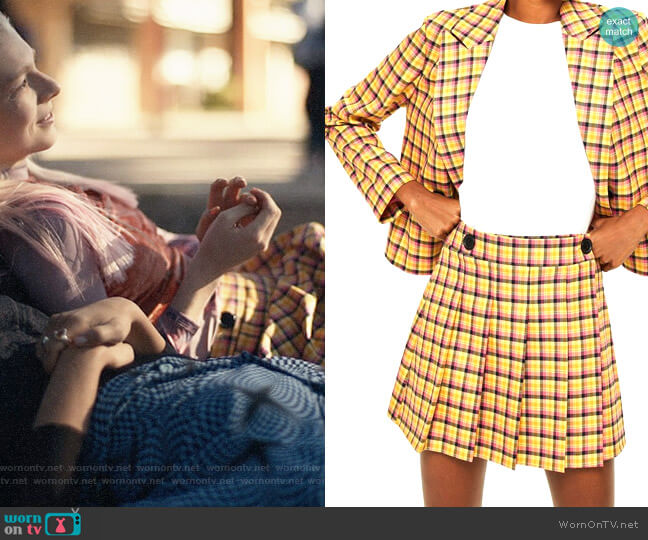 Topshop Check Kilt Miniskirt worn by Jules Vaughn (Hunter Schafer) on Euphoria