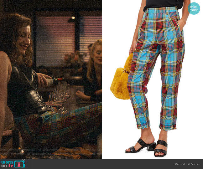 Topshop Clash Martha Check Trousers worn by Ariel (Eden Epstein) on Sweetbitter