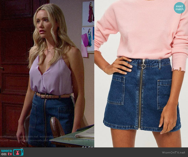 Topshop Patch Pocket A-Line Denim Miniskirt worn by Florence (Katrina Bowden) on The Bold & the Beautiful