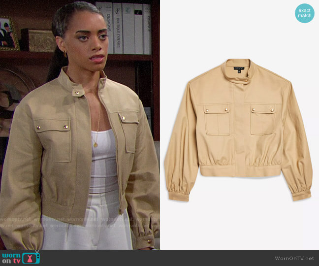 Topshop Patch Pocket Crop Jacket worn by Zoe (Kiara Barnes) on The Bold & the Beautiful