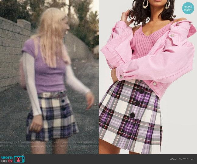 Topshop Tartan Button Kilt Skirt worn by Jules Vaughn (Hunter Schafer) on Euphoria