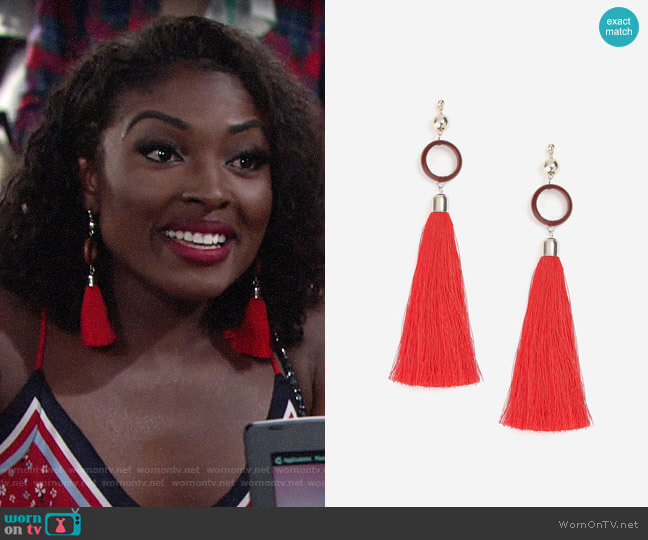 Topshop Circle and Tassel Drop Earrings worn by Ana Hamilton (Loren Lott) on The Young & the Restless