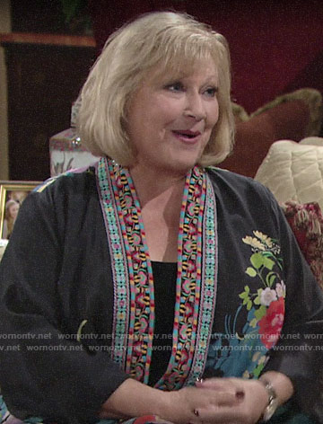 Traci's floral embroidered trim kimono on The Young and the Restless