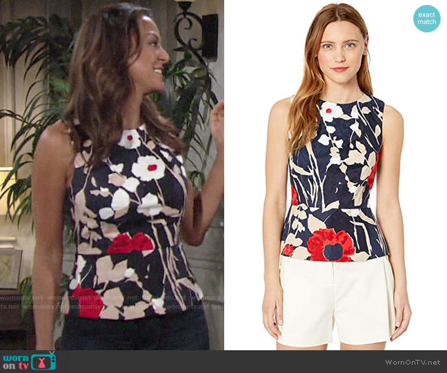 Trina Turk Milagro Top worn by Celeste Rosales (Eva LaRue) on The Young & the Restless