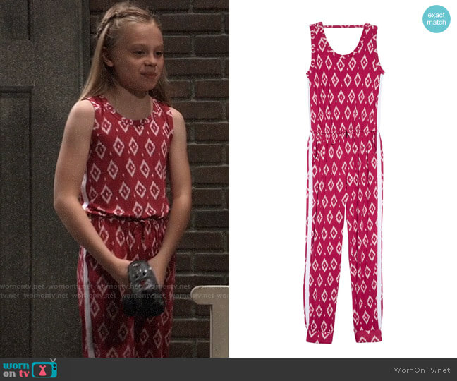 Tucker + Tate Print Knit Jumpsuit worn by Charlotte Cassadine (Scarlett Fernandez) on General Hospital