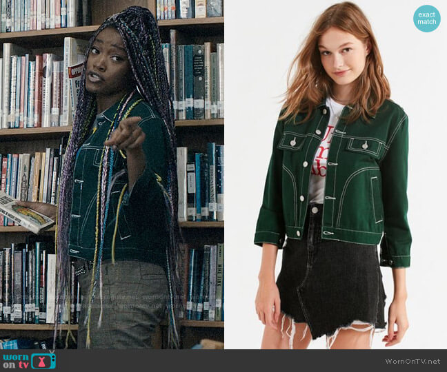 UNIF Woody Green Denim Jacket  worn by Kym (Keke Palmer) on Scream