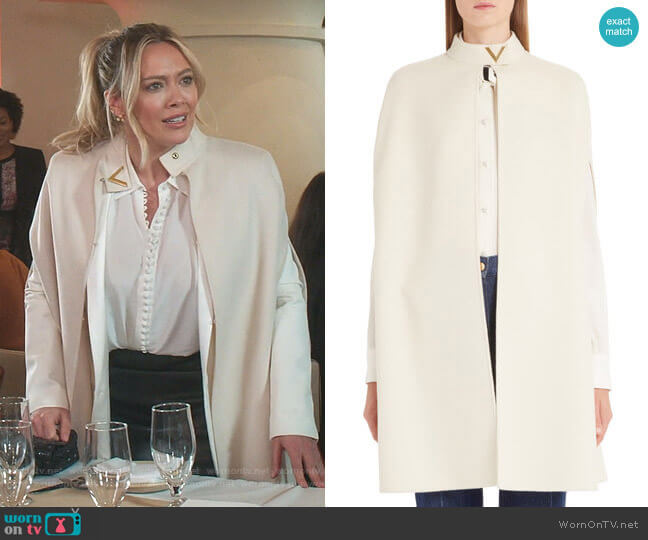 V-Detail Double Face Wool & Angora Rabbit Cape by Valentino worn by Kelsey Peters (Hilary Duff) on Younger