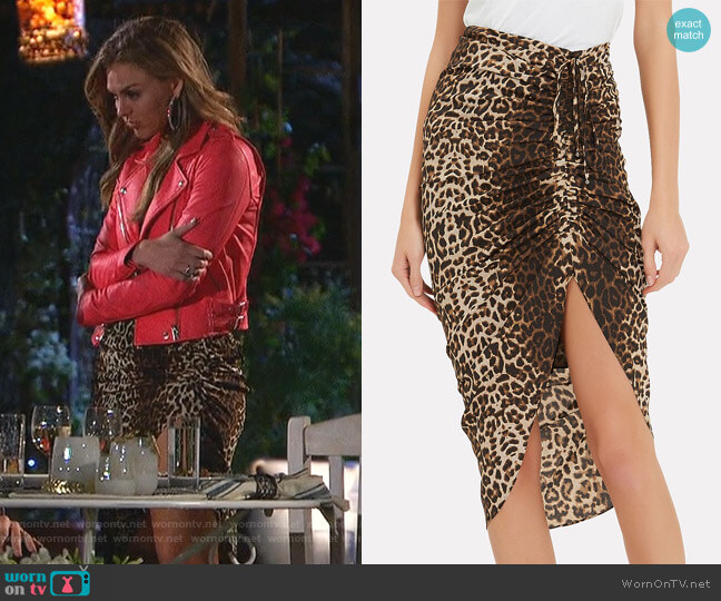 Ari Asymmetrical Leopard Skirt by Veronica Beard worn by Hannah Brown  on The Bachelorette