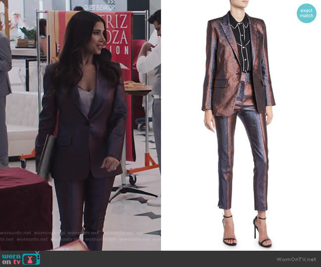 Ashburn Metallic Blazer and Lago Trousers by Veronica Beard worn by Gigi Mendoza (Roselyn Sánchez) on Grand Hotel