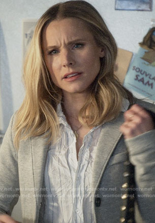 Veronica's striped wrinkled shirt and grey blazer on Veronica Mars
