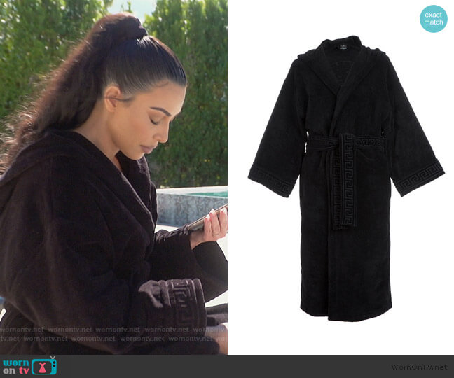 Medusa Classic Hooded Bathrobe by Versace worn by Kim Kardashian  on Keeping Up with the Kardashians