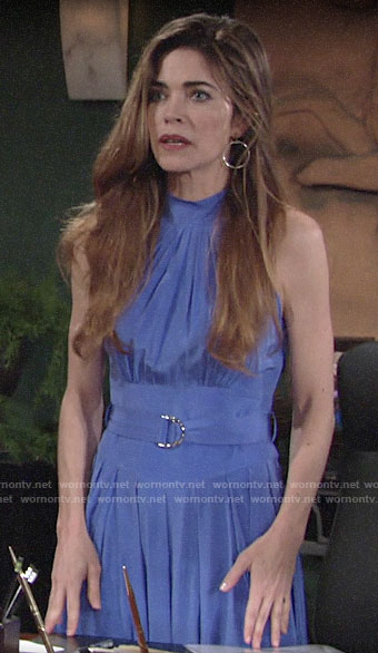 Victoria's blue belted high neck dress on The Young and the Restless
