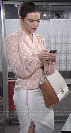 Victoria's blush polka dot blouse on The Young and the Restless