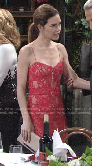Victoria's red lace belted dress on The Young and the Restless
