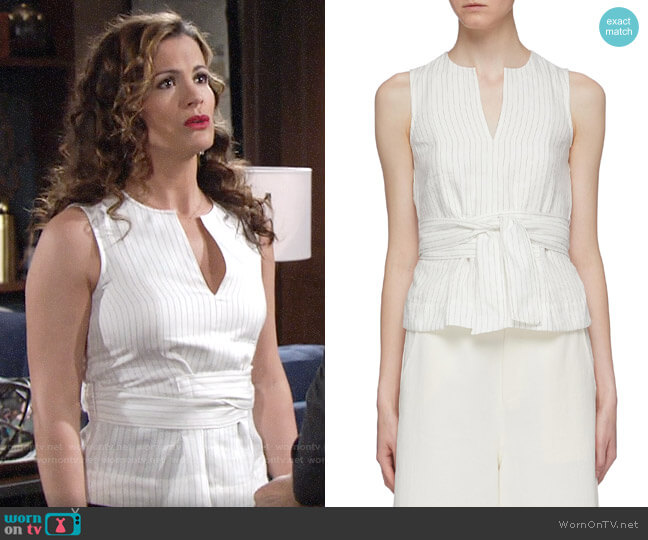 Vince Sash Tie Waist Pinstripe Tank Top worn by Chelsea Lawson (Melissa Claire Egan) on The Young & the Restless