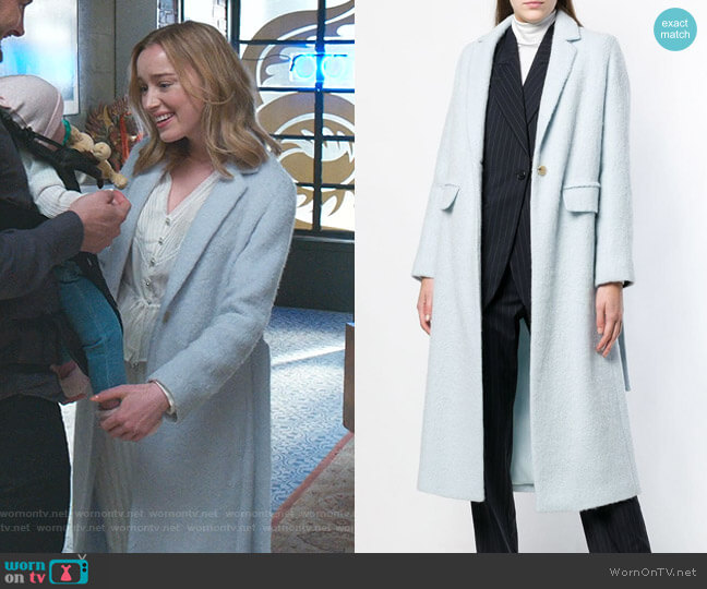Single Breasted Wrap Coat by Vince worn by Phoebe Dynevor on Younger
