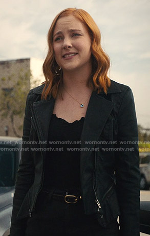 Violet's black moto jacket on Light as a Feather