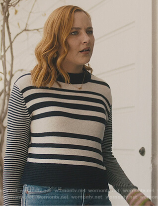 Violet's white striped sweater on Light as a Feather