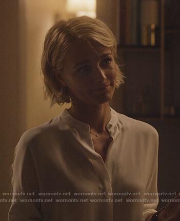 Lizzie's white slit back blouse on Instinct