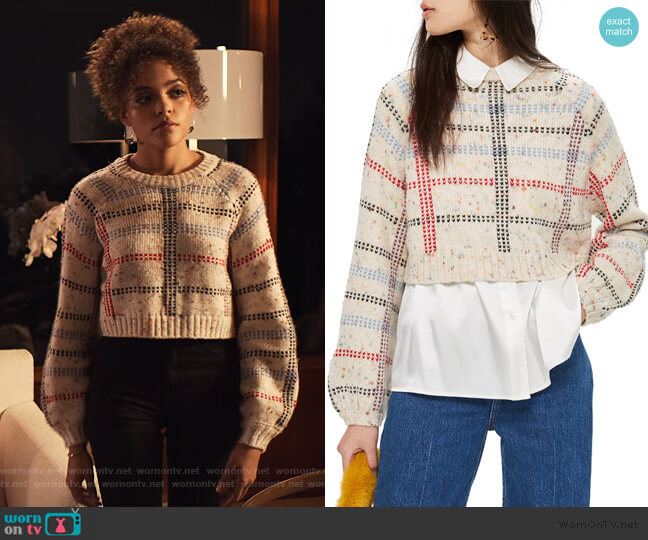 Check Pattern Sweater by Topshop worn by Tabitha Foster (Quintessa Swindell) on Trinkets