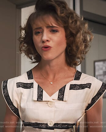 Nancy's white chevron print dress on Stranger Things