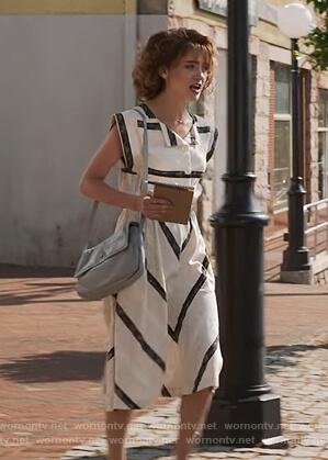 Nancy's white chevron print dress on Stranger Things