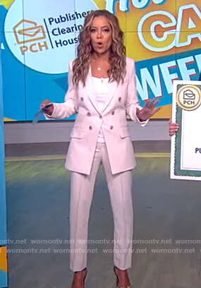 Sunny's white double breasted blazer and pants on The View