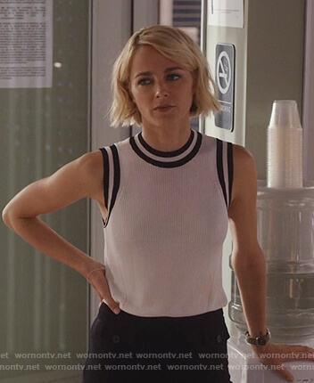 Lizzie's white ribbed stripe trim tank on Instinct