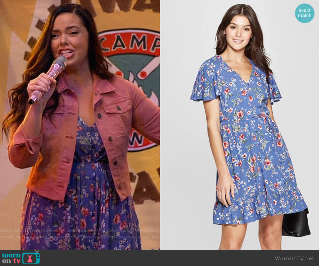 Target Xhilaration Floral Print Short Sleeve Flutter Button-Front Dress worn by Lou Hockhauser (Miranda May) on Bunkd
