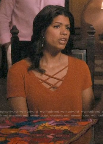 Xiomara's orange strappy front tee on Jane the Virgin
