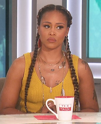 Eve's yellow ribbed tank on The Talk