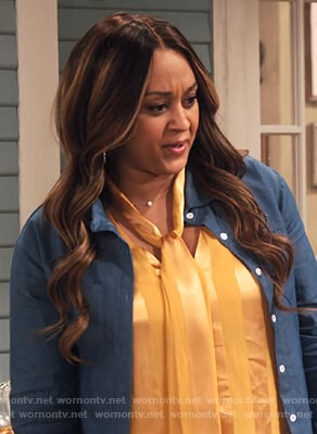 Cocoa's yellow satin tie blouse on Family Reunion