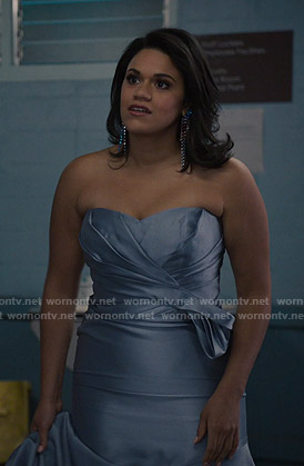 Yoli's blue strapless satin gown on Grand Hotel