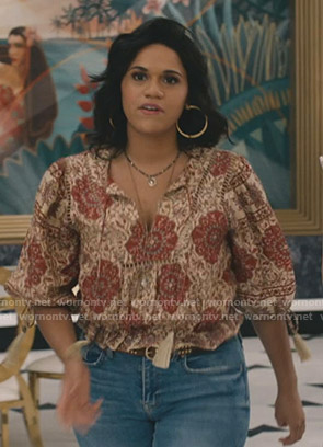 Yoli's printed blouse with tassels on Grand Hotel