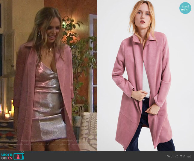 Faux Suede Coat by Zara worn by Hannah Brown  on The Bachelorette