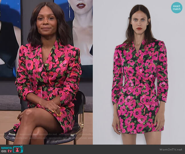 Floral Print Blazer Dress by Zara worn by Zuri Hall  on E! News