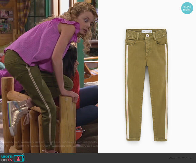 Jeans with Sparkly Side Stripe by Zara worn by Destiny Baker (Mallory James Mahoney) on Bunkd