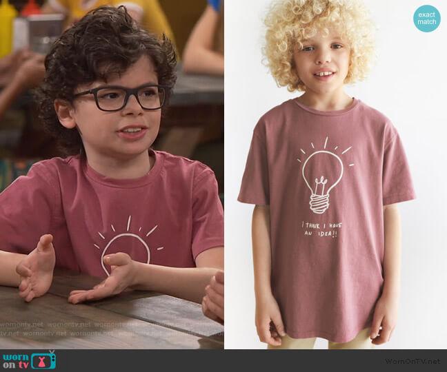 Light Bulb T-shirt by Zara worn by Matteo Silva (Raphael Alejandro) on Bunkd