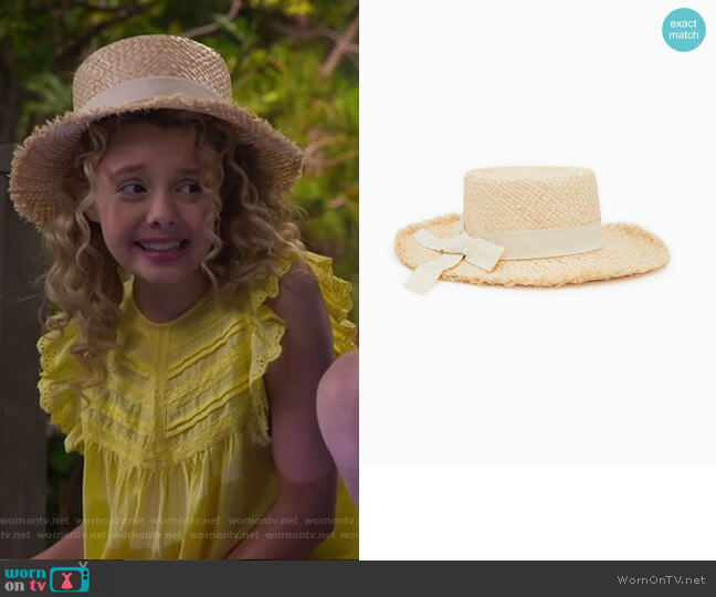 Straw Hat with Band by Zara worn by Destiny Baker (Mallory James Mahoney) on Bunkd