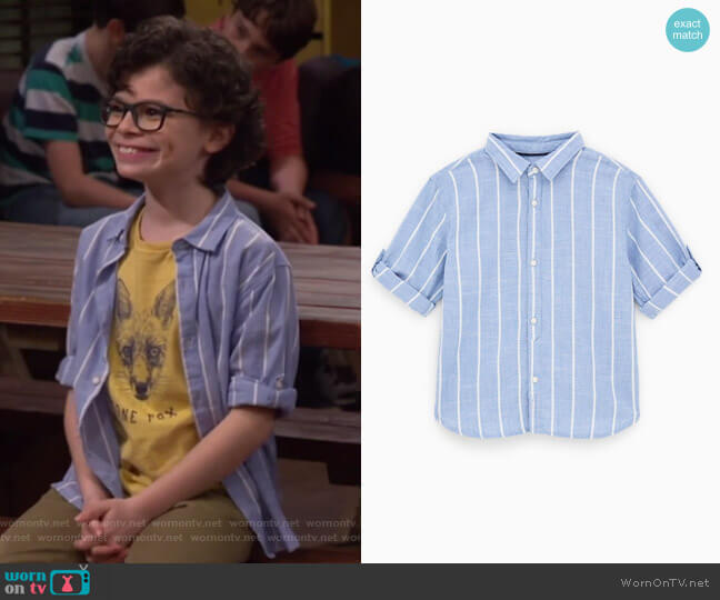 Striped Shirt by Zara worn by Matteo Silva (Raphael Alejandro) on Bunkd