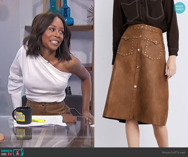 Studded Faux Leather Skirt by Zara worn by Zuri Hall  on E! News